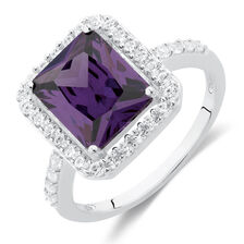 Ring with Purple & White Cubic Zirconias in Sterling Silver