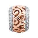 Diamond Set, 10kt Rose Gold & Sterling Silver Filigree Charm