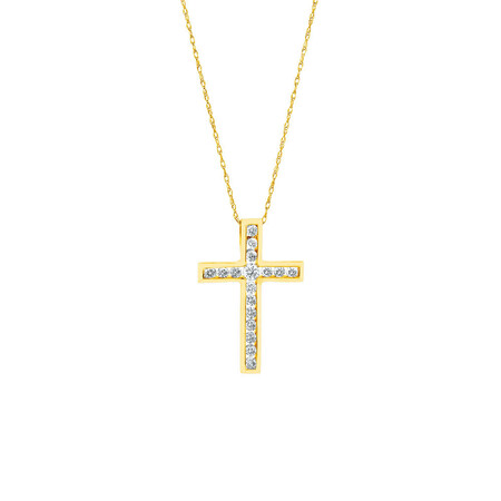 Cross Pendant in 10kt Yellow Gold With Diamonds