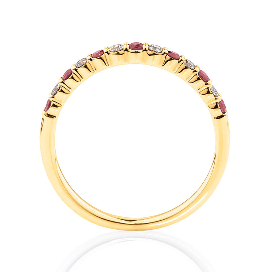 Ring With Natural Ruby & 0.15 Carat TW Of Diamonds In 10kt Yellow Gold