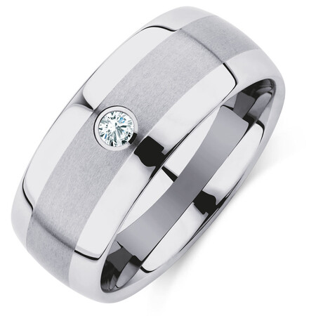Men's Ring with a Diamond in Grey Sapphire Tungsten