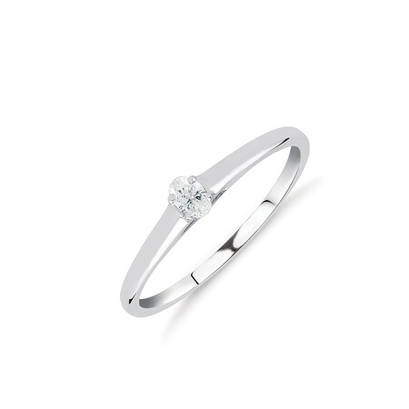 Promise Ring with Diamond in 10kt White Gold