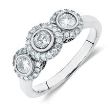 Ring with 0.80 Carat TW of Diamonds in 10kt White Gold