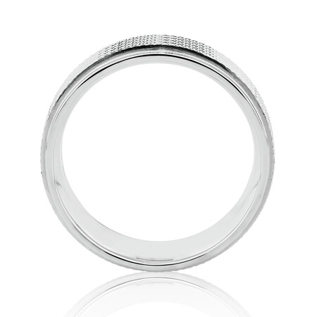 8mm Patterned Ring in 10kt White Gold