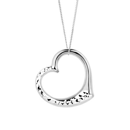 Heart Pendant in 10kt White Gold