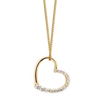 Heart Pendant with Cubic Zirconias in 10kt Yellow Gold