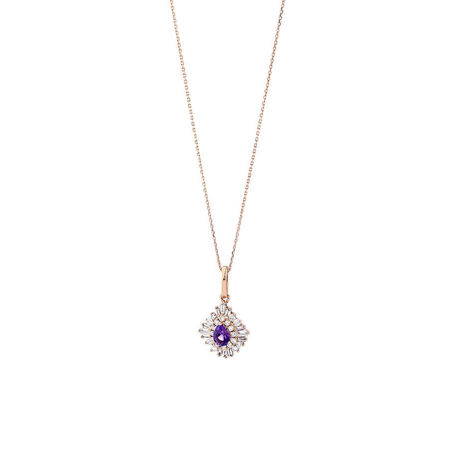 Ballerina Pendant with Amethyst & 0.25 Carat TW of Diamonds in 10kt Rose Gold