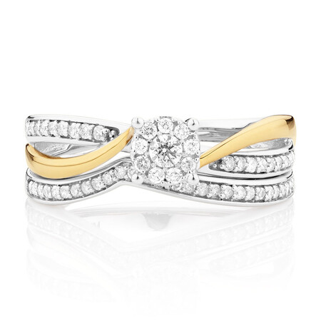 Bridal Set with 0.33 Carat TW of Diamonds in 10kt White & Yellow Gold