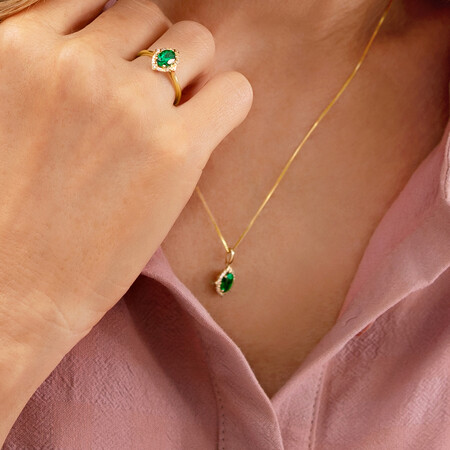 Halo Pendant With Created Emerald & Diamonds in 10kt Yellow Gold