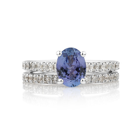 Bridal Set with 5/8 Carat TW of Diamonds & Tanzanite in 14kt White Gold