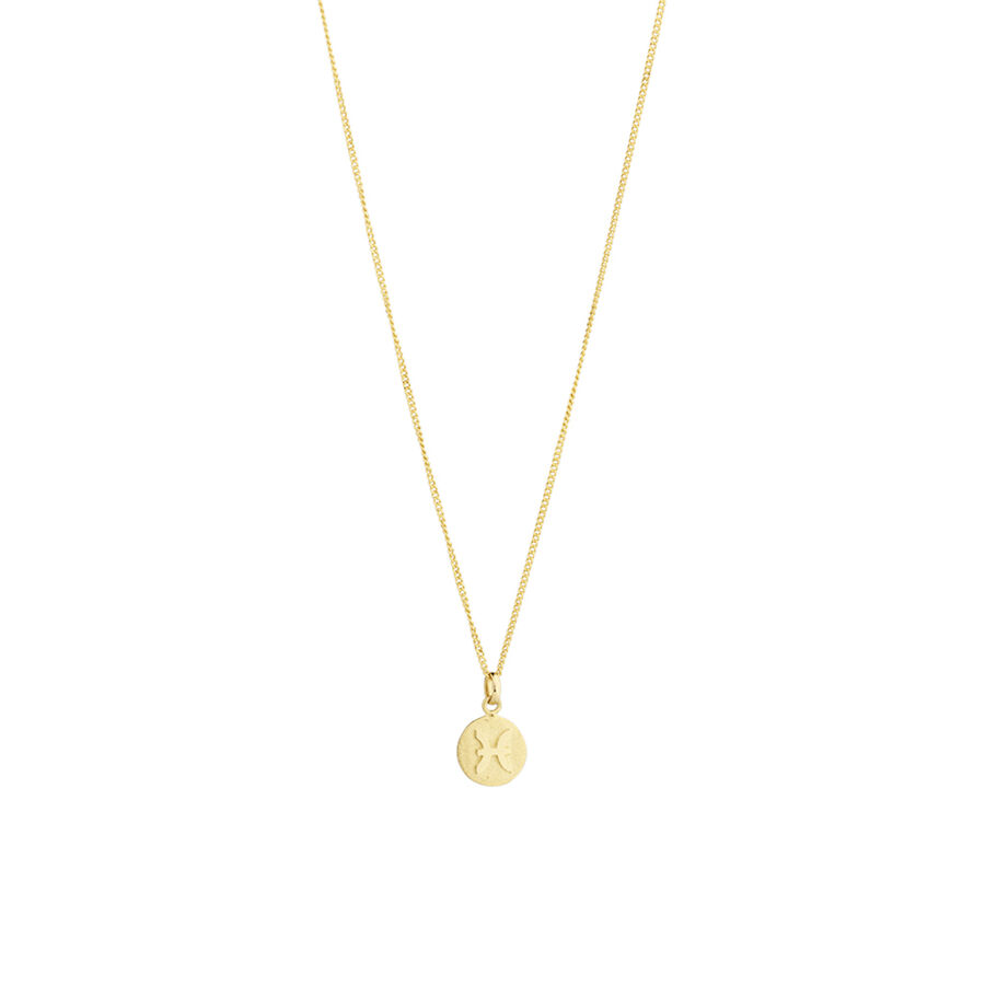 Pisces Zodiac Pendant in 10kt yellow Gold