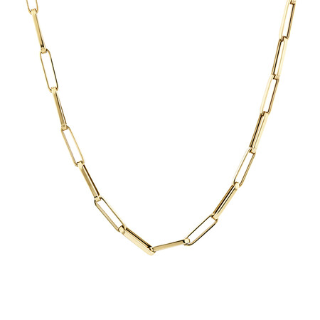 45cm Hollow Rectangular Link Chain in 10kt Yellow Gold