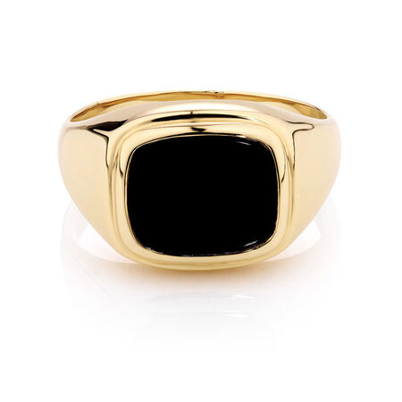 Men's Ring with Black Onyx in 10kt Yellow Gold