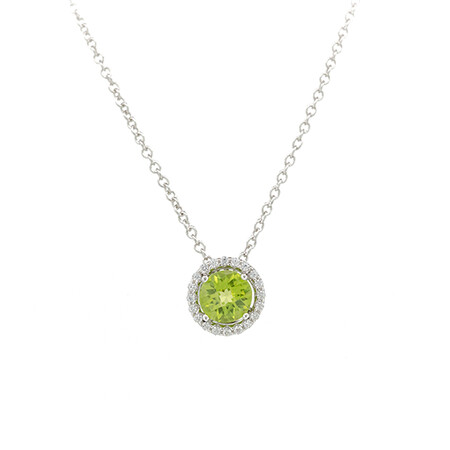 Halo Pendant with Created Peridot & Cubic Zirconia in Sterling Silver