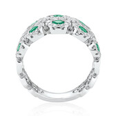 Bubble Ring with Natural Emerald & 0.80 Carat TW of Diamonds in 14kt White Gold