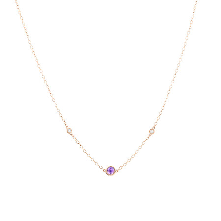 Pink Sapphire Necklace with Diamonds in 10ct Rose Gold