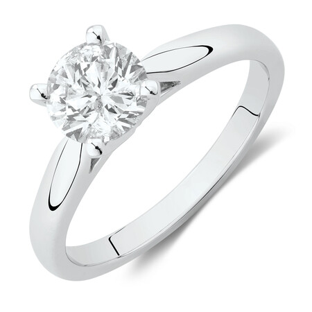 Evermore Solitaire Engagement Ring with 1 Carat TW Diamond in 14kt White Gold