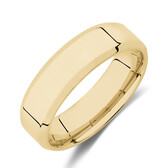 Flat Bevelled Wedding Band in 10kt Yellow Gold