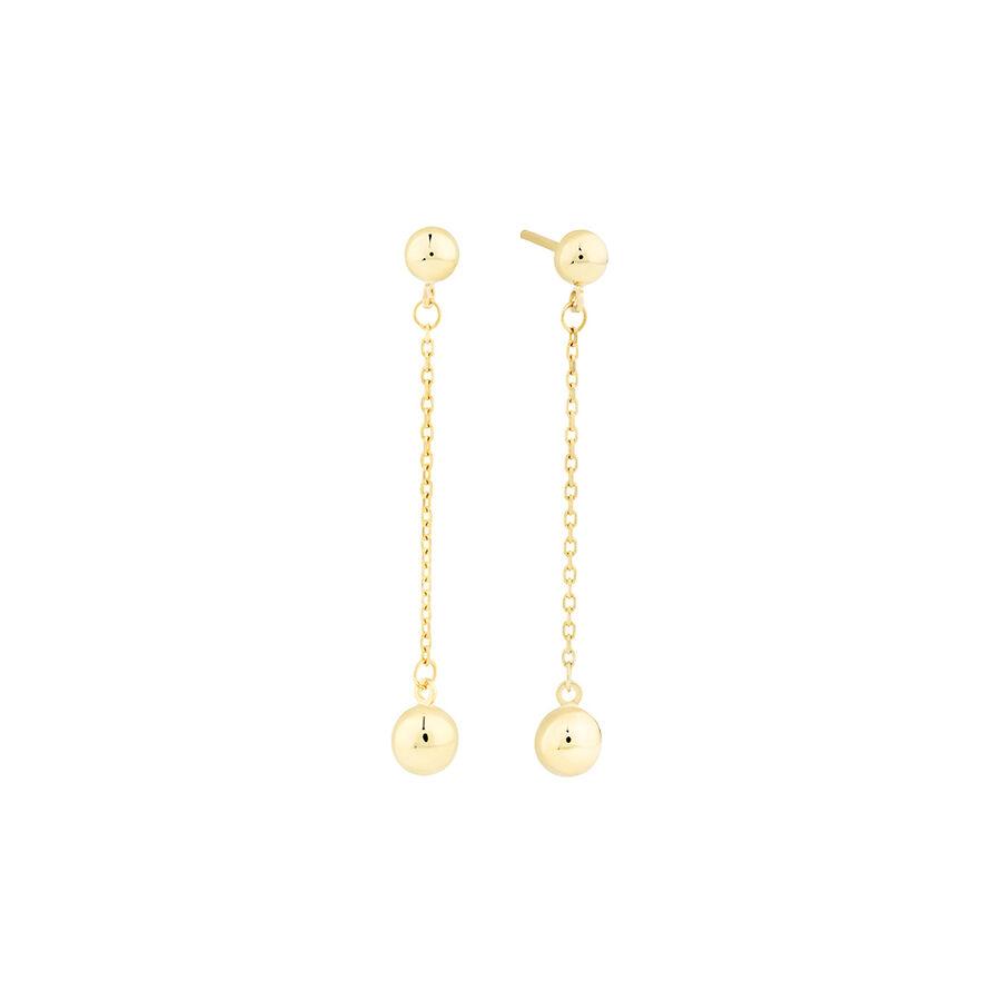 Drop Ball Stud Earrings in 10kt Yellow Gold