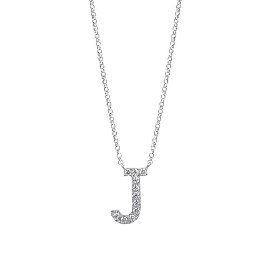 J' Initial necklace with 0.10 Carat TW of Diamonds in 10kt White Gold