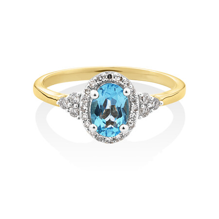 Ring with Diamonds & Natural Topaz in 10kt Yellow Gold