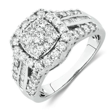Engagement Ring with 1 1/2 Carat TW of Diamonds in 10kt White Gold