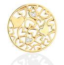 Diamond Set 10kt Yellow Gold Hearts Coin Locket Insert