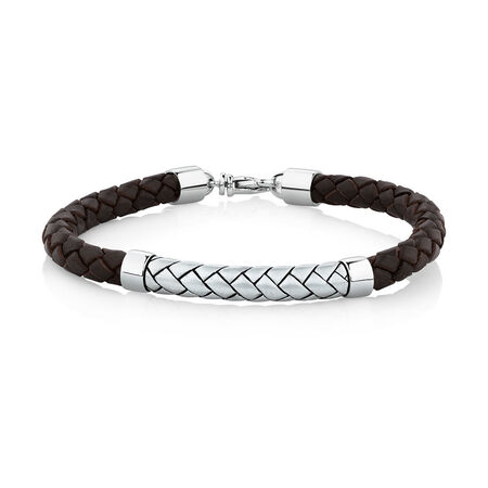 Weave Pattern Bracelet in Brown Leather & 925 Sterling Silver