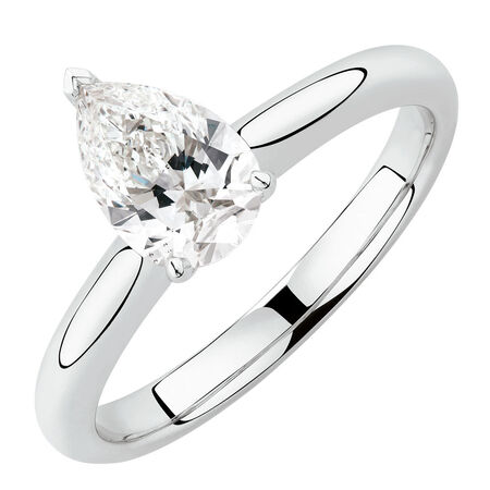 Solitaire Engagement Ring with a 1 Carat TW Certified Diamond in 18kt White Gold