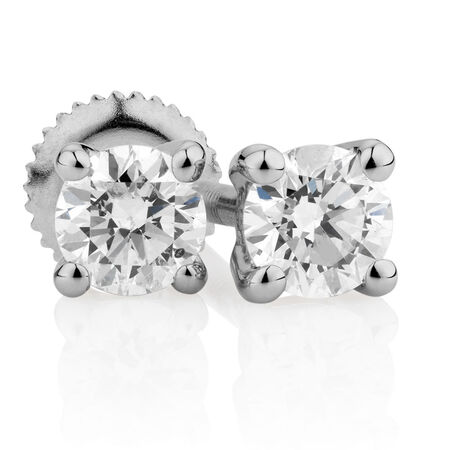 Certified Stud Earrings with 0.30 Carat TW of Diamonds in 14kt White Gold