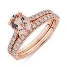 Bridal Set with 5/8 Carat TW of Diamonds & Morganite in 14kt Rose Gold