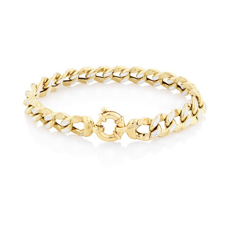 Curb Bolt Ring Bracelet in 14kt Yellow & White Gold