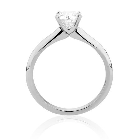 Certified Solitaire Engagement Ring with a 1 Carat TW Diamond in 14ct White Gold