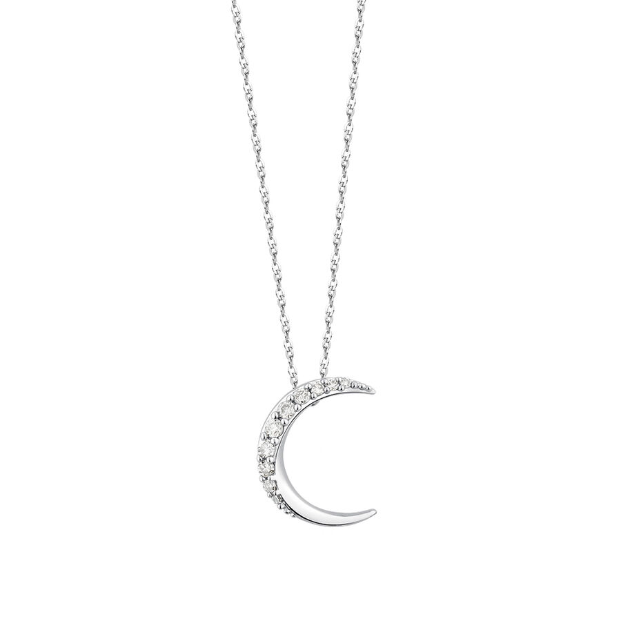 Moon Pendant With Diamonds In 10kt White Gold