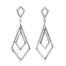 Geometric Drop Earrings with Diamonds in Sterling Silver