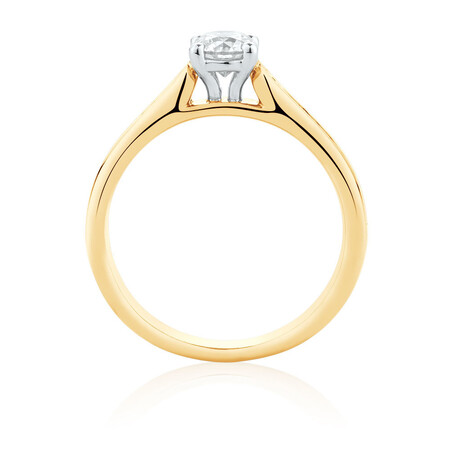 Engagement Ring with 0.78 Carat TW of Diamonds in 14kt Yellow & White Gold