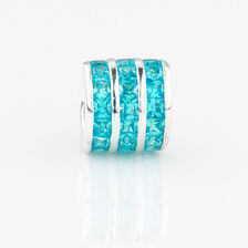Online Exclusive - Triple Row Charm with Aqua Cubic Zirconia in Sterling Silver