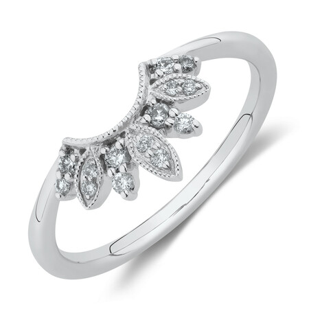 Evermore Contoured Wedding Band with Diamonds in 10kt White Gold