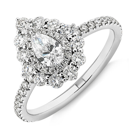 Sir Michael Hill Designer Vintage Floral Engagement Ring with 0.92 Carat TW of Diamonds in 18kt White Gold