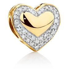 Heart Charm with 1/4 Carat TW of Diamonds in 10kt Yellow Gold