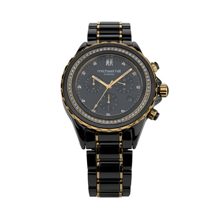 Chronograph Watch with 1/2 Carat TW of Diamonds in Black Ceramic & Gold Tone Stainless Steel