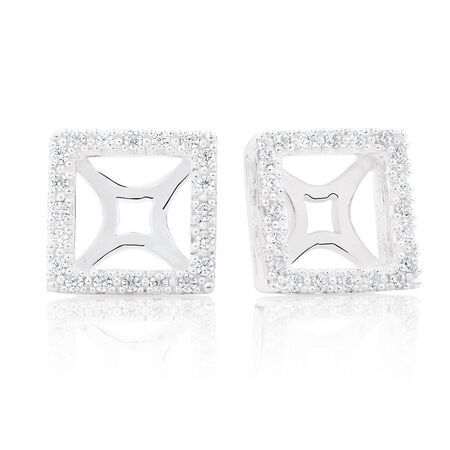 Cubic Zirconia & Sterling Silver Square Earring Enhancer