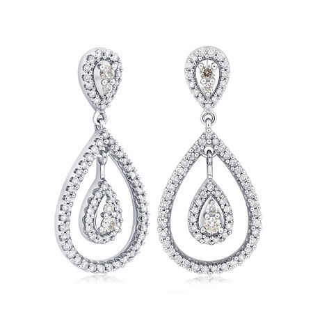 Drop Earrings with 1 Carat TW of Diamonds in 14kt White Gold