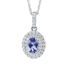 Michael Hill Designer Fashion Pendant with Tanzanite & 0.20 Carat TW of Diamonds in 10kt White Gold