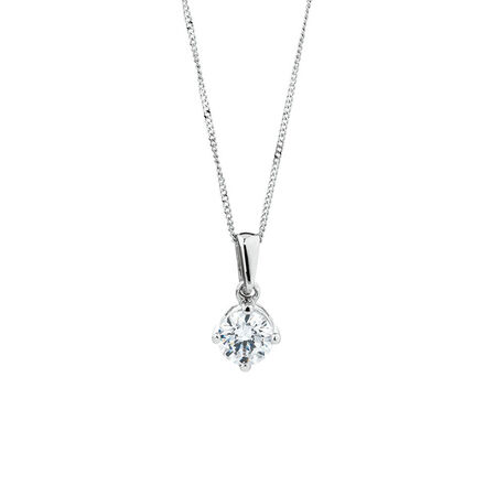 Northern Radiance Solitaire Pendant with a 0.30 Carat TW Certified Canadian Diamond in 14kt White Gold