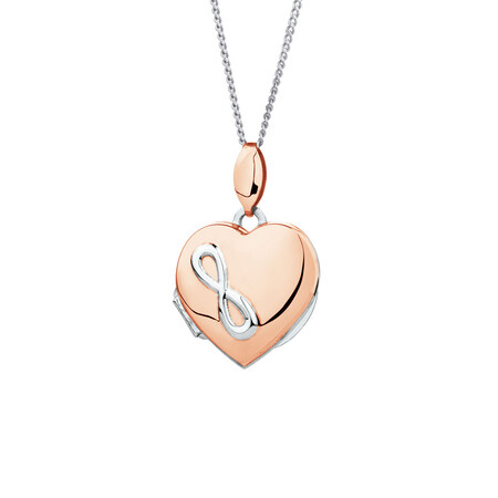 Heart Infinity Locket in 10kt Rose Gold & Sterling Silver