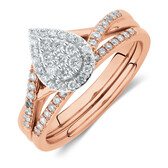 Evermore Bridal Set with 3/8 Carat TW of Diamonds in 10kt Rose & White Gold