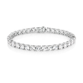 Tennis Bracelet with Created White Sapphire in Sterling Silver