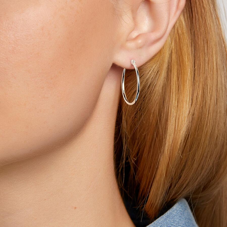 Round Hoop Earring in Sterling Silver