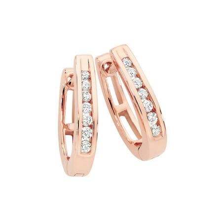 Huggie Earrings 0.15 Carat TW of Diamonds in 10kt Rose Gold